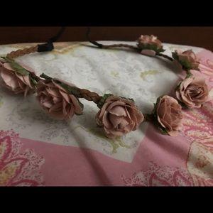 Pink flower head band ( flower crown)